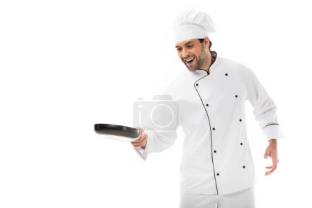 happy young chef cooking with frying pan isolated on white