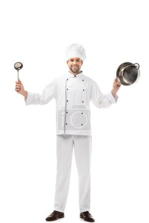Photo for Handsome smiling chef holding ladle and pan isolated on white - Royalty Free Image