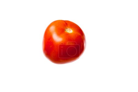 close-up view of fresh ripe red tomato isolated on white