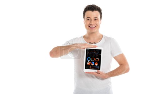 handsome man holding digital tablet with marketing analysis app on screen isolated on white
