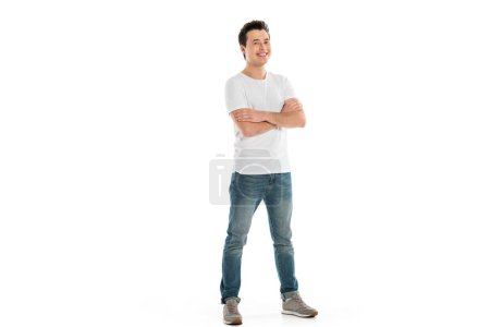 handsome happy man with crossed arms looking at camera isolated on white