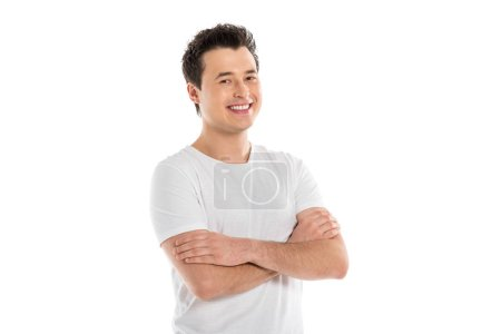 Photo for Portrait of handsome smiling man with crossed arms looking at camera isolated on white - Royalty Free Image