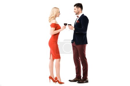 Couple of beautiful blonde woman and handsome man with glasses of wine isolated on white