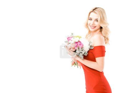 Photo for Smiling beautiful young woman with flowers isolated on white - Royalty Free Image