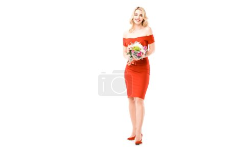 Photo for Attractive young woman in red dress  with flowers isolated on white - Royalty Free Image