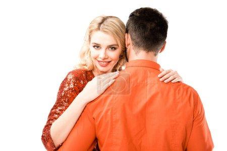 Back view of man hugging attractive girlfriend isolated on white