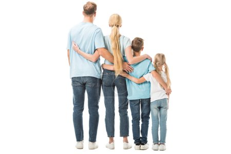 Back view of family standing and hugging isolated on white