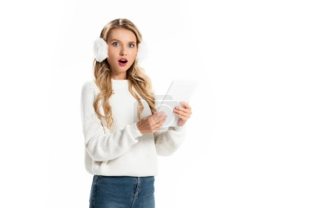 Photo for Beautiful shocked girl using digital tablet isolated on white - Royalty Free Image