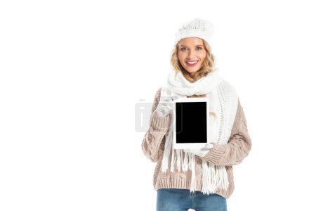 Photo for Beautiful happy girl presenting digital tablet with blank screen isolated on white - Royalty Free Image
