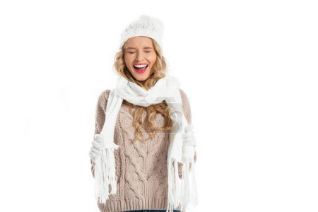 Happy young woman with closed eyes laughing isolated on white