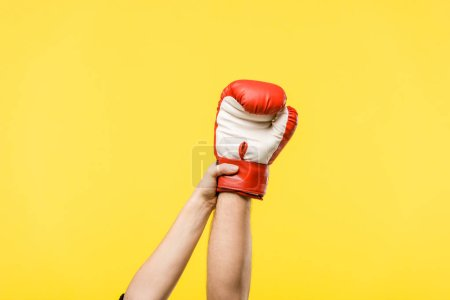 Photo for Cropped shot of woman holding man hand in boxing glove isolated on yellow - Royalty Free Image