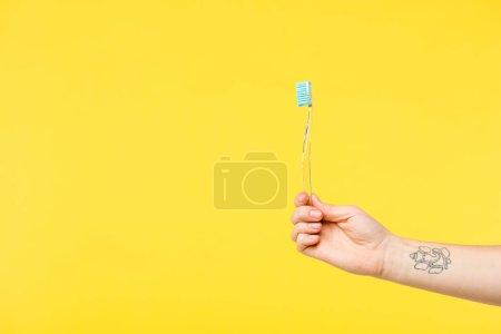 Photo pour Photo recadrée de personne détenant la brosse à dents isolée sur jaune - image libre de droit