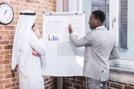 African american businessman showing charts and graphs to arabian partner