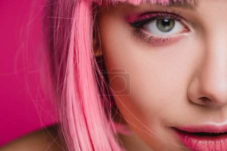 Photo for Close up of beautiful girl posing in pink wig, isolated on pink - Royalty Free Image