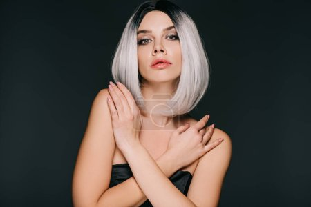 Photo for Beautiful glamor girl posing in grey wig, isolated on black - Royalty Free Image