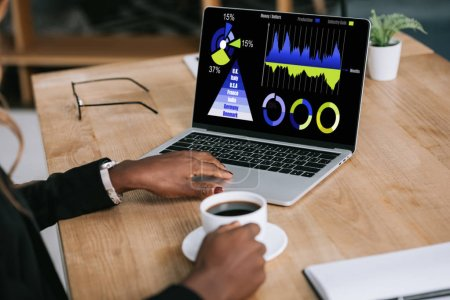 african american woman holding cup of coffee and using laptop with charts and graphs on screen