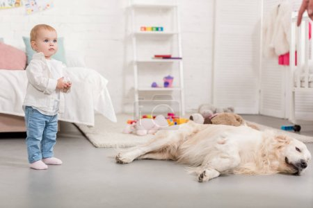 Photo for Adorable kid standing and golden retriever lying on floor in children room - Royalty Free Image