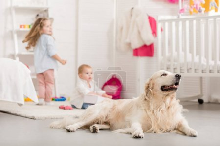 selective focus of adorable sisters playing on floor, cute golden retriever lying near in children room