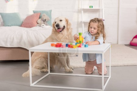 Photo for Adorable kid playing with educational cubes, friendly golden retriever sitting near table in children room - Royalty Free Image