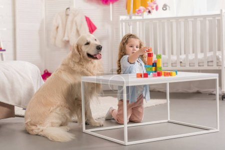Photo for Adorable preschooler playing with educational cubes, golden retriever sitting near table in children room - Royalty Free Image