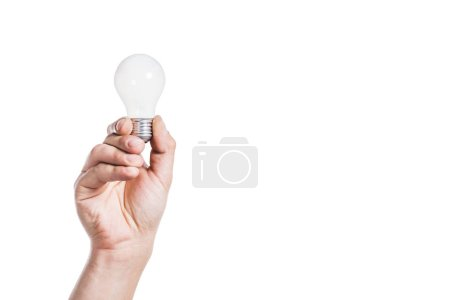 cropped view of man holding light bulb isolated on white, energy efficiency concept