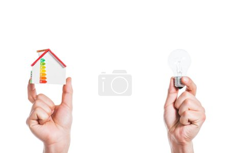 cropped view of male hands holding house model and led lamp in hands isolated on white, energy efficiency at home concept