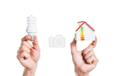 cropped view of male hands holding house model and fluorescent lamp in hands isolated on white, energy efficiency at home concept