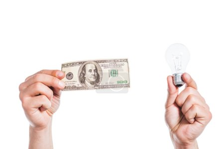 cropped view of man holding led lamp and hundred dollar banknote in hands isolated on white, energy efficiency concept