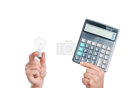 Photo for Cropped view of male hands holding led lamp and calculator in hands isolated on white, energy efficiency concept - Royalty Free Image