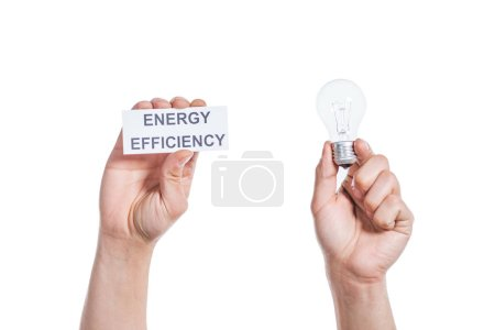 Photo for Cropped view of male hands holding led lamp and paper card isolated on white, energy efficiency concept - Royalty Free Image