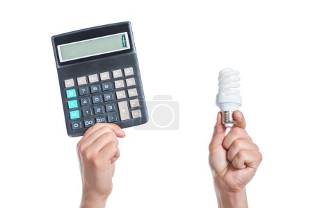 Photo for Cropped view of male hands holding fluorescent lamp and calculator in hands isolated on white, energy efficiency concept - Royalty Free Image