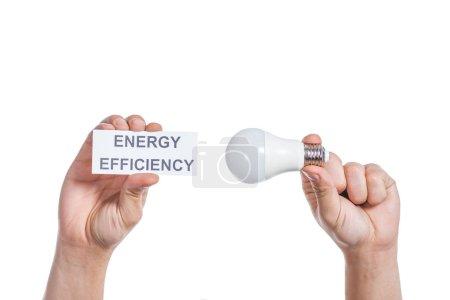 Foto de Vista recortada de hombres manos sosteniendo la lámpara fluorescente y tarjeta de papel con letras aisladas en blanco, el concepto de eficiencia de energía - Imagen libre de derechos