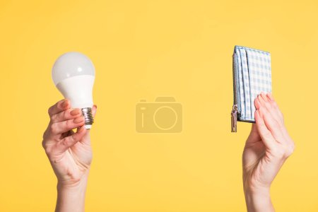 Photo for Cropped view of woman holding fluorescent lamp and wallet in hands isolated on yellow, energy efficiency concept - Royalty Free Image