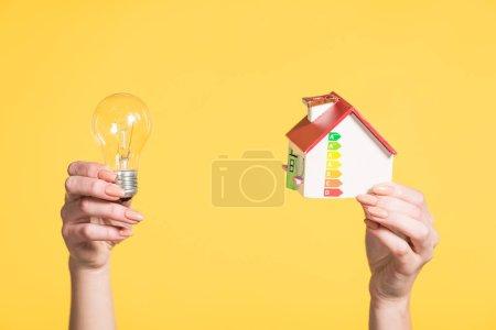 vue recadrée de la femme tenant lampe led et modèle de maison dans les mains isolées sur jaune, concept d'efficacité énergétique à la maison