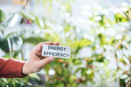 Foto de Vista recortada de hombre que sostiene la tarjeta con letras, eficiencia energética en el concepto de hogar - Imagen libre de derechos