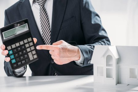 cropped view of businessman pointing with finger at calculator near carton house on white background , energy efficiency concept