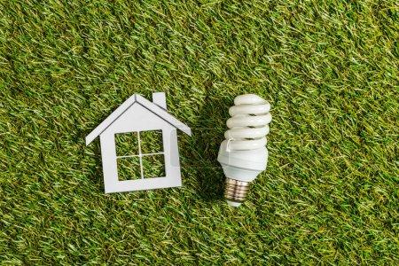 Foto de Vista superior de la lámpara fluorescente junto a la casa de papel sobre la verde hierba, eficiencia energética en el concepto de hogar - Imagen libre de derechos
