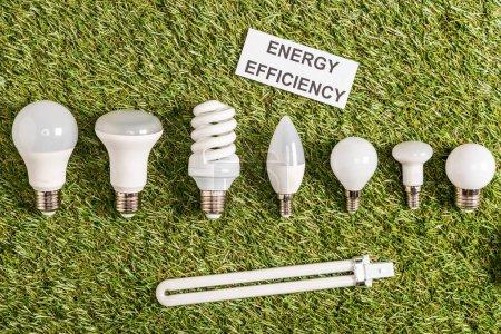 Foto de Vista superior de modernas lámparas fluorescentes cerca tarjeta de papel con letras en verde hierba, el concepto de eficiencia de energía - Imagen libre de derechos