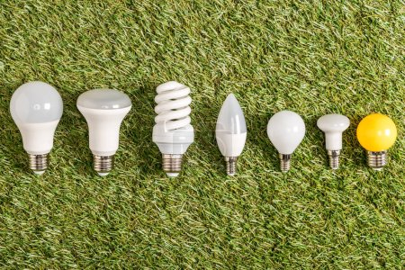 Photo for Flat lay of fluorescent lamps on green grass, energy efficiency concept - Royalty Free Image