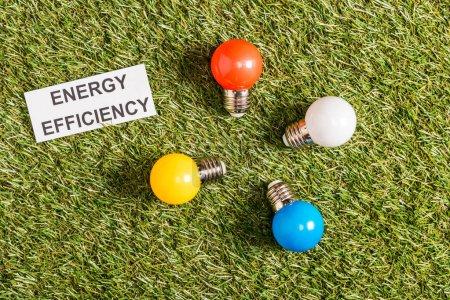 vue de dessus des lampes fluorescentes colorées près de carte de papier avec le lettrage sur l'herbe verte, concept d'efficacité énergétique