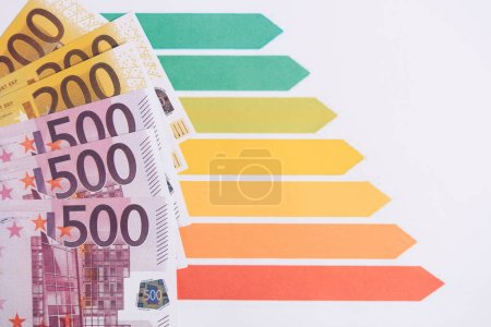 euro banknotes near colorful charts and graphs isolated on white