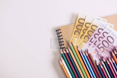set of wooden colorful pencils on notebook near euro banknotes on white background
