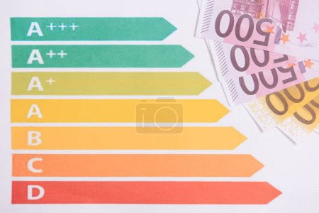 euro banknotes near charts and graphs isolated on white
