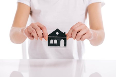 Photo for Cropped view of woman holding paper house isolated on white, mortgage concept - Royalty Free Image