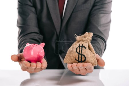 cropped view of mortgage broker holding piggy bank and moneybag isolated on white