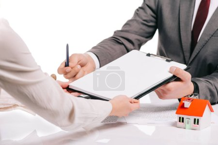 cropped view of mortgage broker and woman making deal isolated on white, mortgage concept