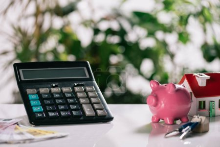 selective focus of euro banknotes, keys, piggy bank, calculator and house model on white desk, mortgage concept