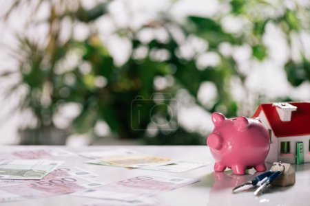 selective focus of euro banknotes, keys, piggy bank and house model on white desk, mortgage concept