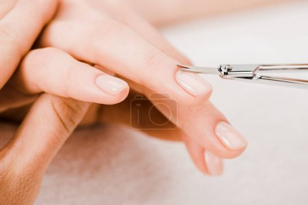 Photo for Cropped view of manicurist using manicure scissors to remove cuticle - Royalty Free Image