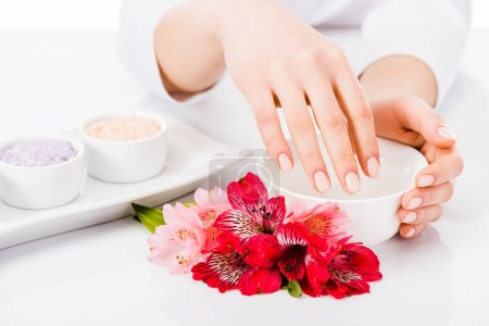 Photo for Partial view of woman with perfect manicure doing hand treatment - Royalty Free Image